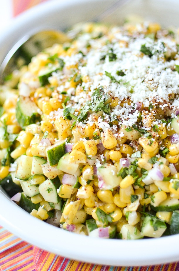 Mexican Street Corn Salad  Mexican Street Corn and Cucumber Salad Simply Whisked