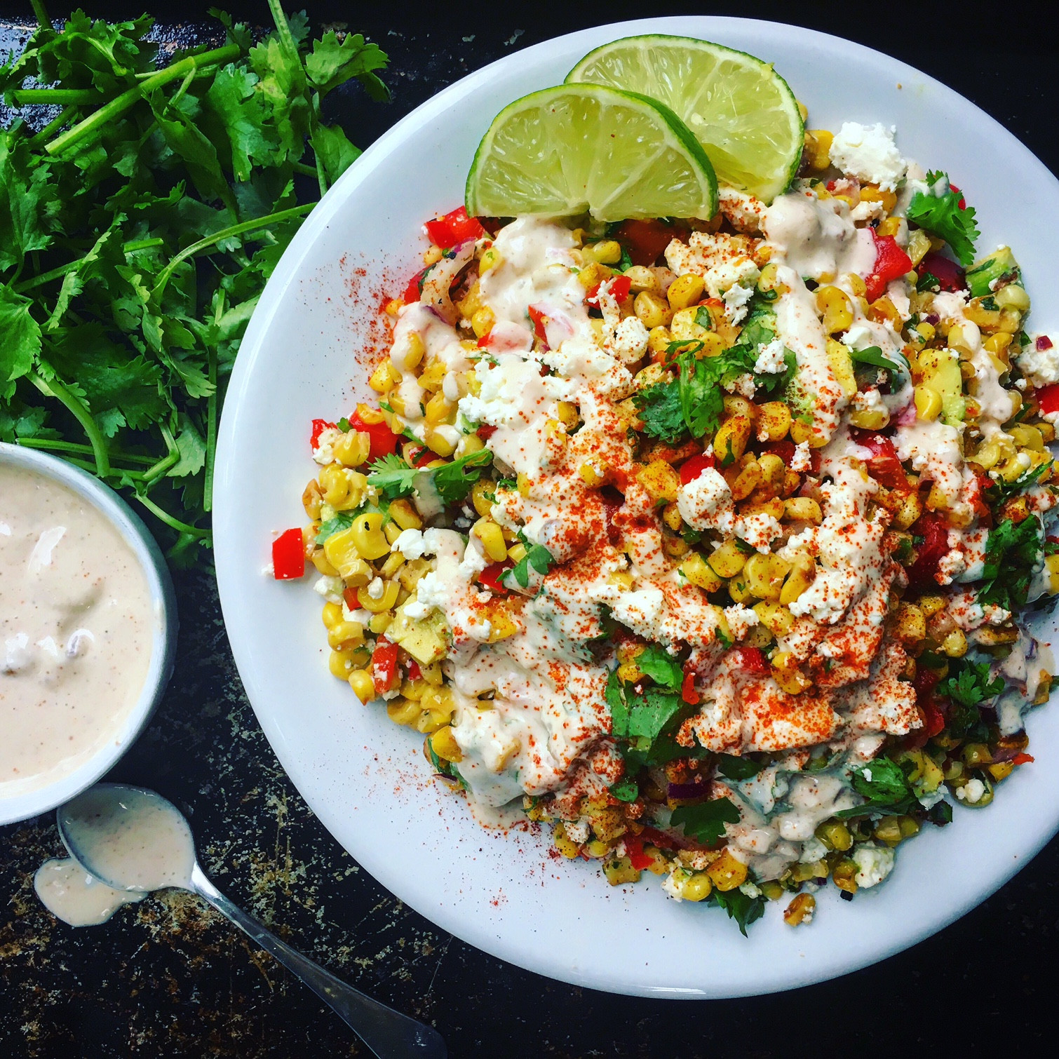 Mexican Street Corn Salad  Mexican Street Corn Salad with Smoky Cream Sauce Sara