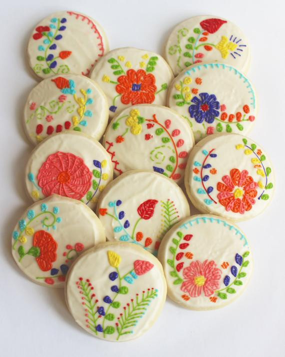 Mexican Sugar Cookies  Mexican Embroidery Floral Embroidery Flower Sugar Cookies