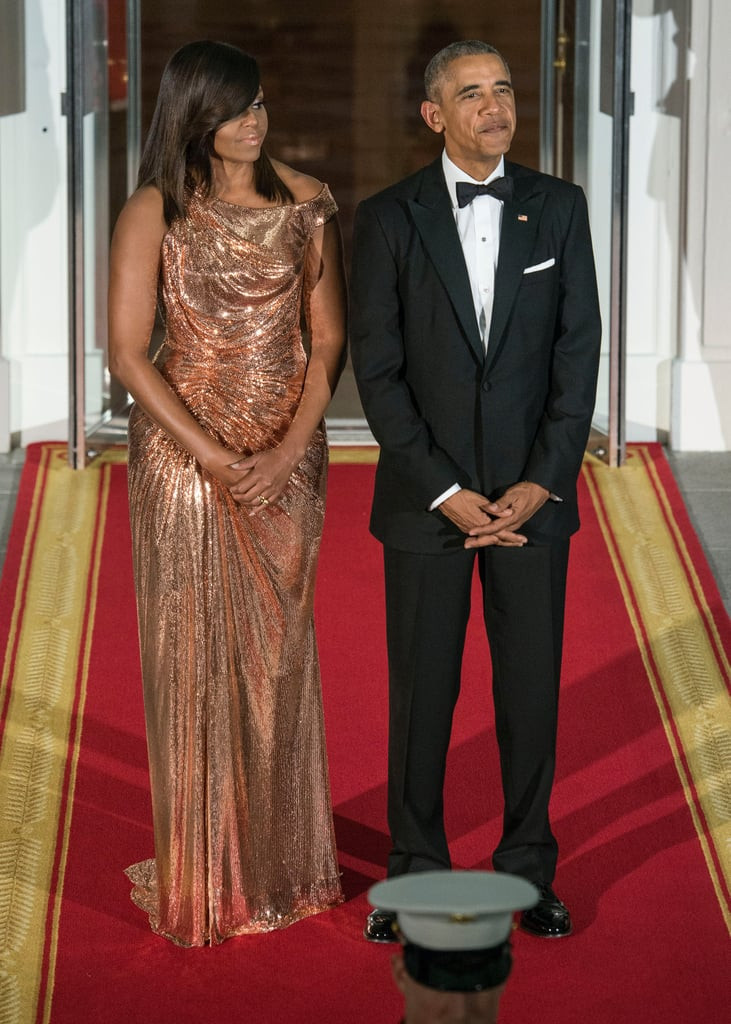 Michelle Obama State Dinner 2016 Dress  Michelle Obama s Versace Dress at Italy State Dinner 2016