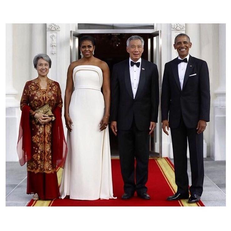 Michelle Obama State Dinner 2016 Dress  Michelle Obama Stuns In White State Dinner Dress