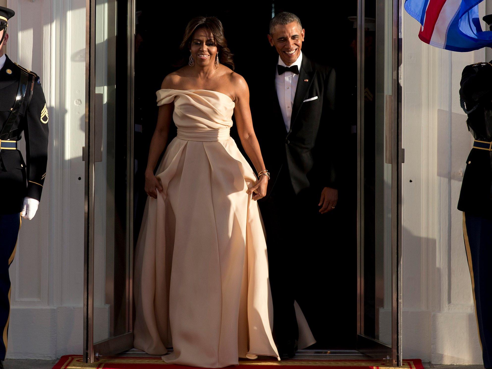 Michelle Obama State Dinner 2016 Dress  Michelle Obama Versace dress state dinner INSIDER