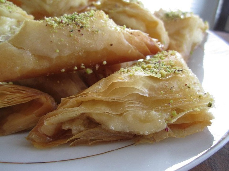 """Middle Eastern Desserts Recipe  Middle Eastern cream filled pastries """"Warbat bil ishta"""