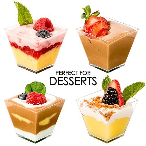 Mini Dessert Glasses  DLux™ Mini Dessert Cups Appetizer Bowls & Spoons with