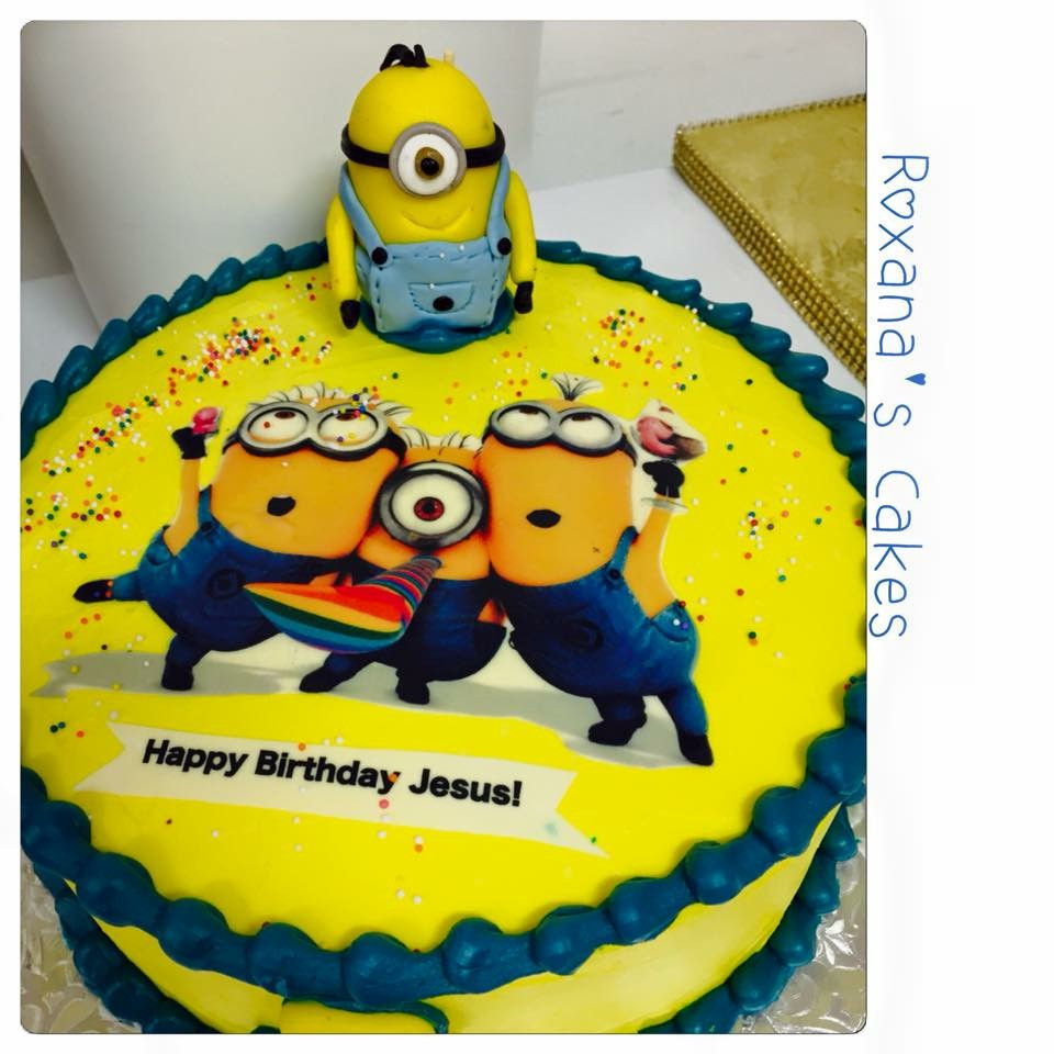 Minion Birthday Cake  Baking with Roxana s Cakes Minion themed Birthday Cake
