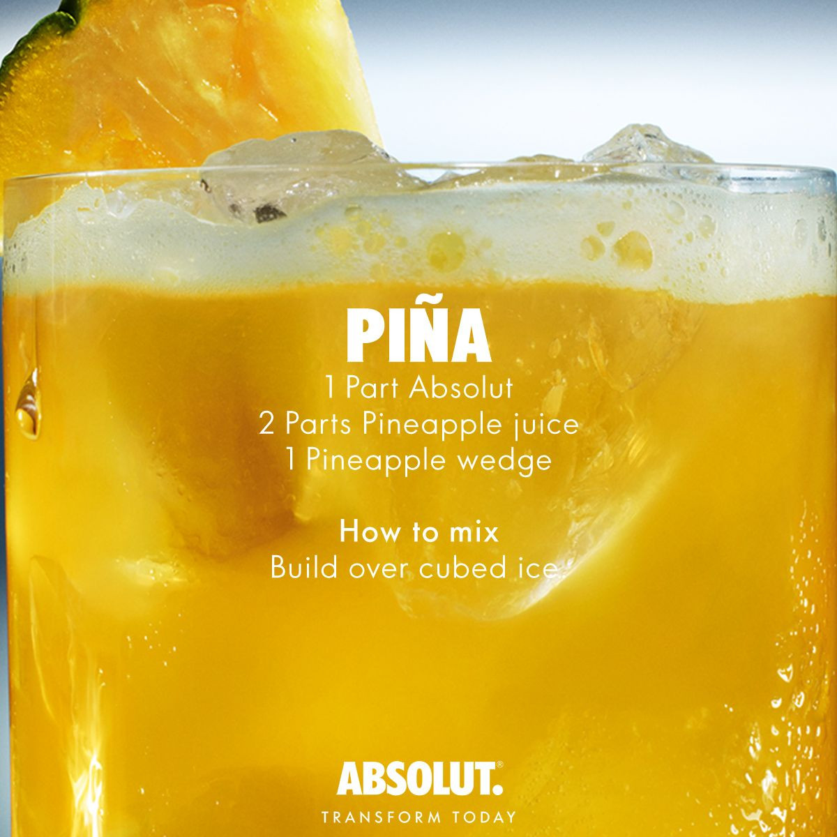 Mixed Drinks With Vodka And Pineapple Juice  Cocktail Recipes Pina 1 Part Absolut Vodka 2 Parts