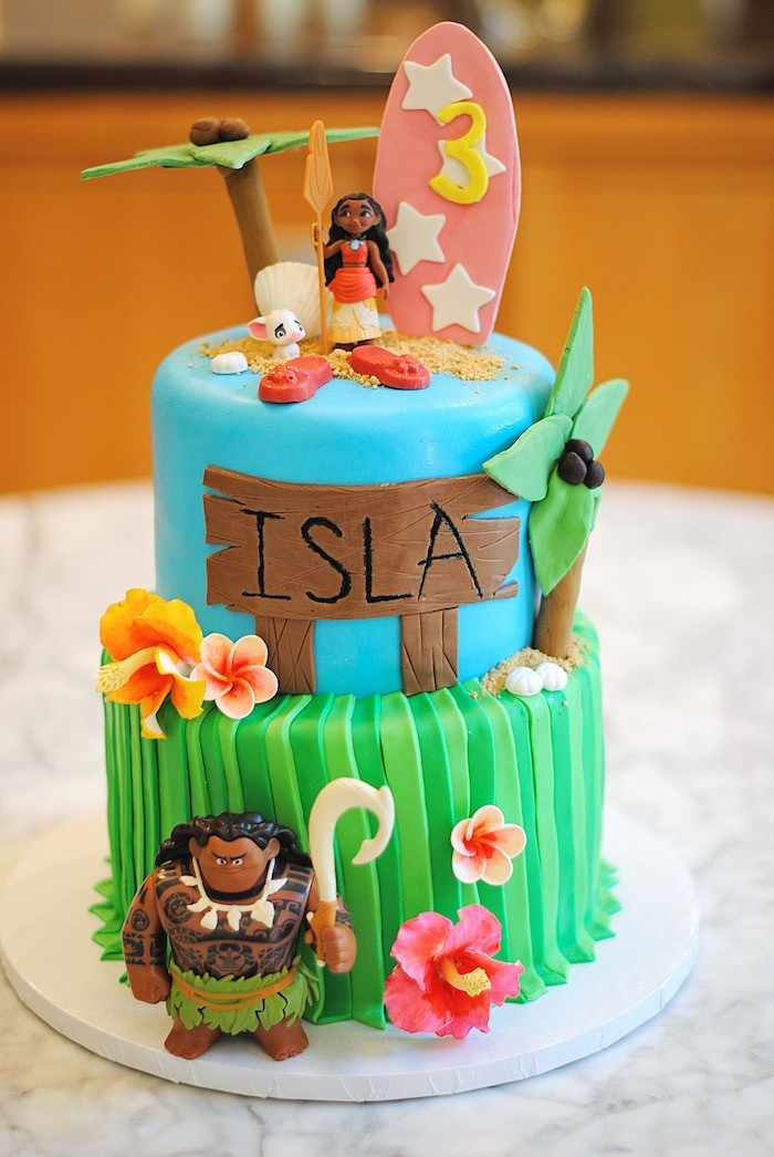 Moana Birthday Cake Ideas  Kara s Party Ideas Moana Hawaiian Luau Birthday Party