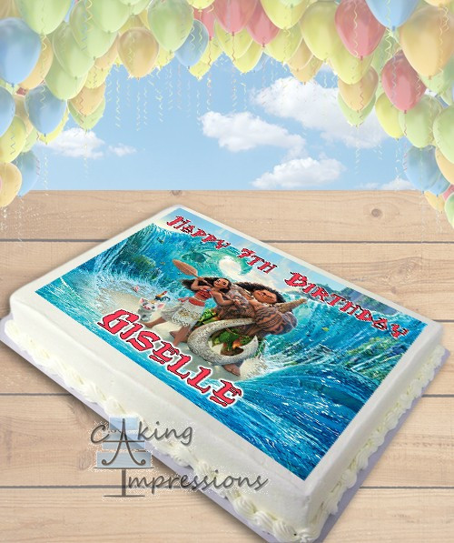 Moana Sheet Cake  Moana Edible Image Sheet Cake Topper