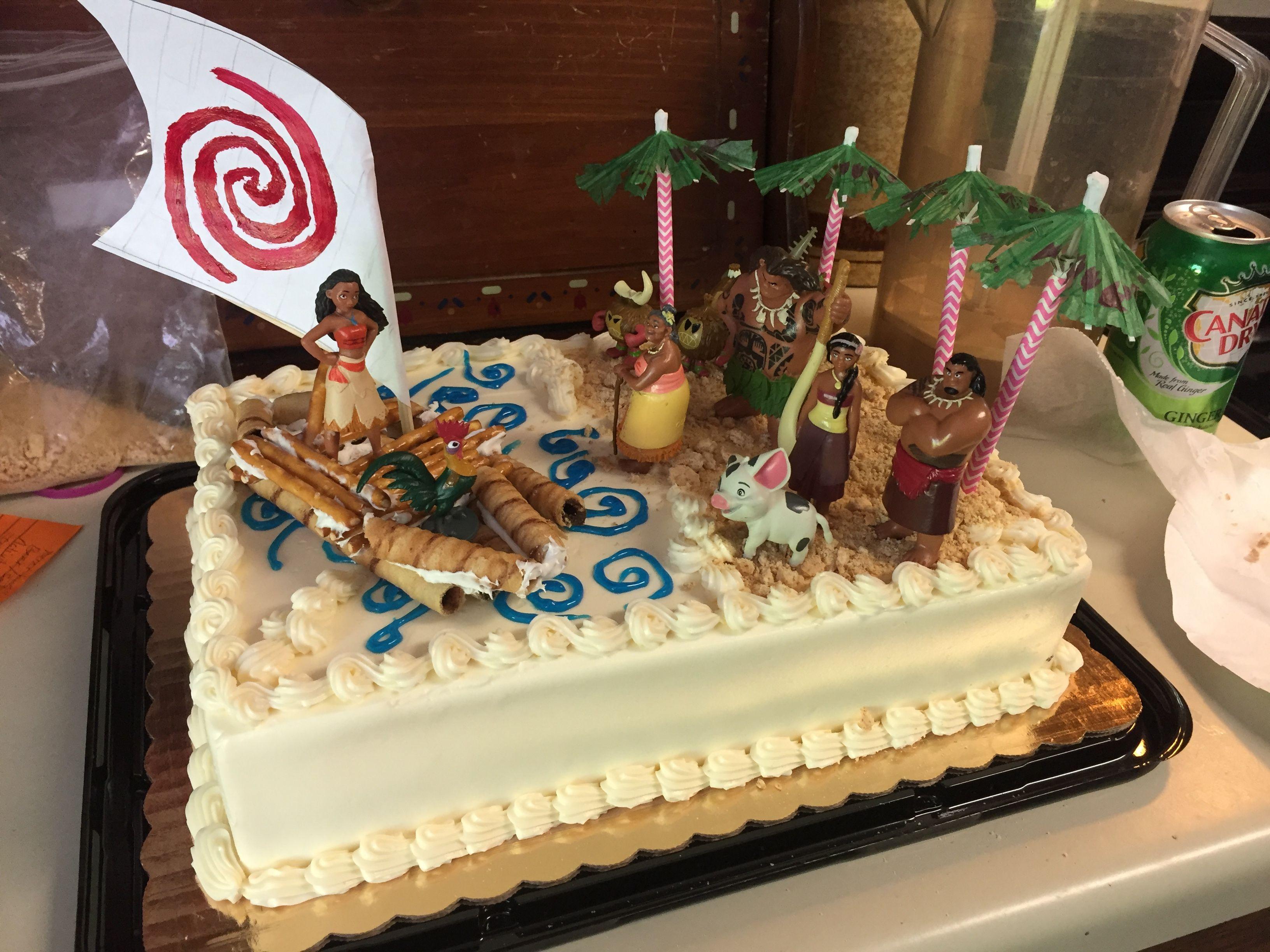 Moana Sheet Cake  Easy Moana cake with a blank sheet cake Figures from the