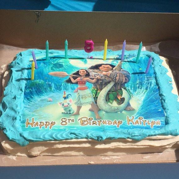 Moana Sheet Cake  Moana cake cupcake & cookie toppers frame and stripes