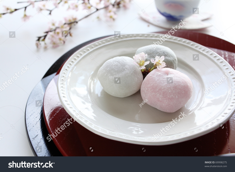 Mochi Japanese Dessert  Japanese Traditional Dessert Three Color Mochi Stock