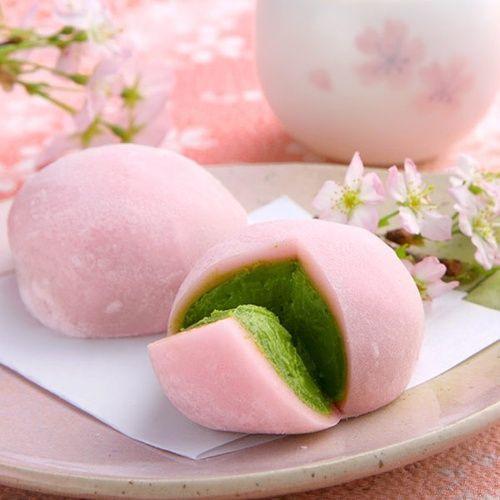 Mochi Japanese Dessert  Pink Green Tea Mochi It looks good even though I have no