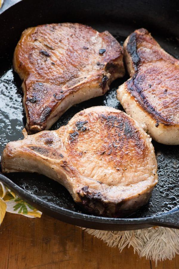 Moist Pork Chops  Pan fried Brined Pork Loin Chops with Cherry Sauce