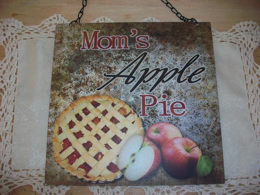 Mom'S Apple Pie  PRIMITIVE COUNTRY APPLE DECOR SIGN MOM S APPLE PIE KITCHEN