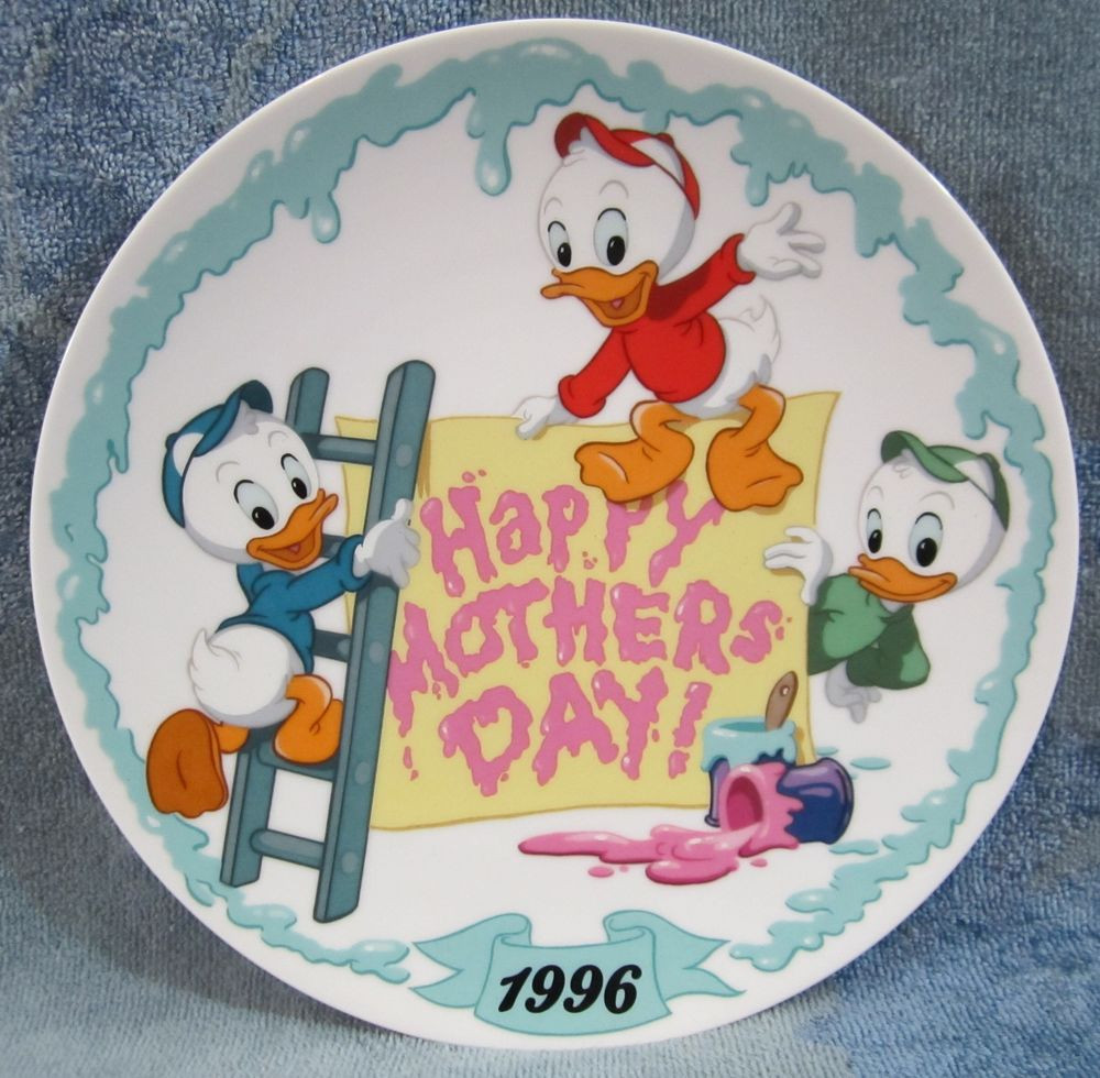 """Mother'S Day Dinner  1996 Happy Mother s Day Plate Disney Huey Dewey Louie """"We"""
