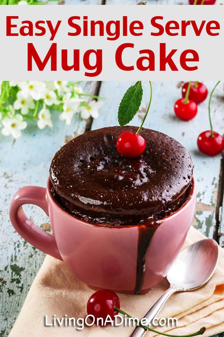 Mug Cake Recipe  Quick and Easy Single Serve Mug Cake Recipe Living on a Dime