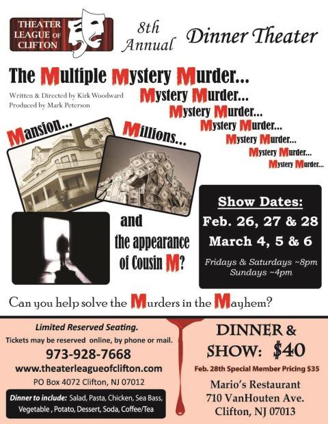 Murder Mystery Dinner Nj  New Jersey Footlights Multiple Mystery Murder at TLC s