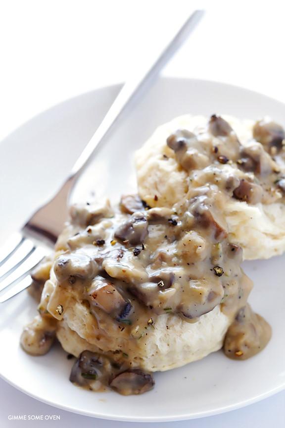 Mushroom Gravy Vegan  Biscuits and Mushroom Gravy Vegan Almond Breeze