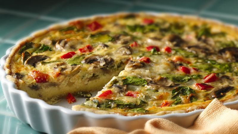 Mushroom Quiche Recipe  Spinach Mushroom Quiche Recipe BettyCrocker