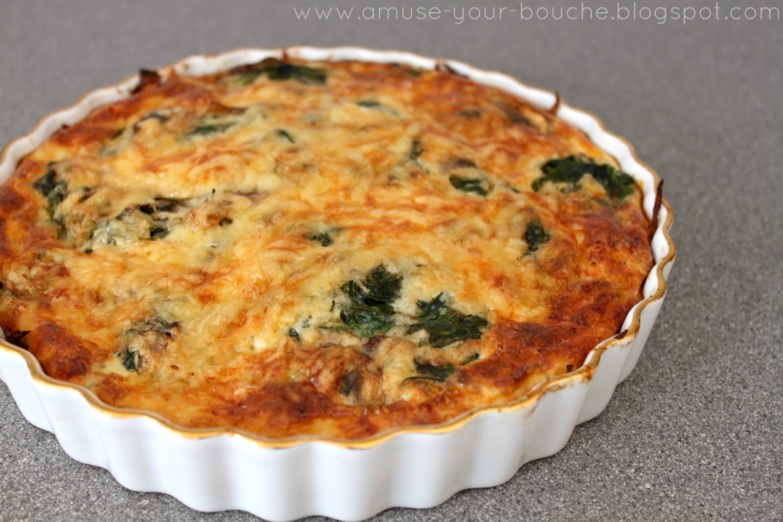 Mushroom Quiche Recipe  Spinach and mushroom quiche with potato hash crust Amuse