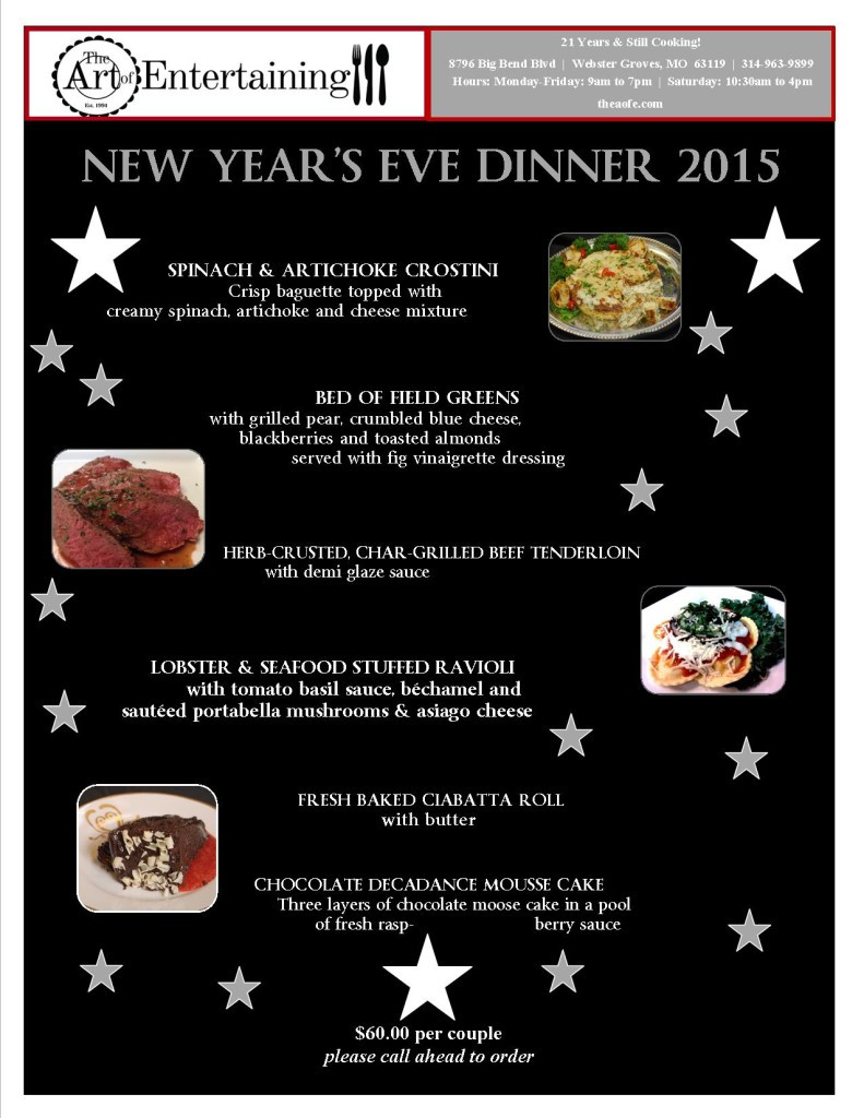 New Year Day Dinner Menu  $60 per couple Please call ahead to order The Art of