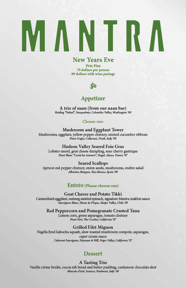"""New Year Day Dinner Menu  Mantra New Years 2011 – """"La Fête Magnifique"""""""
