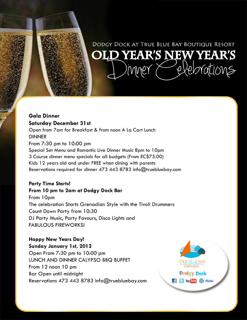 New Year Day Dinner Menu  Old Years New Years Celebration At True Blue Bay Boutique