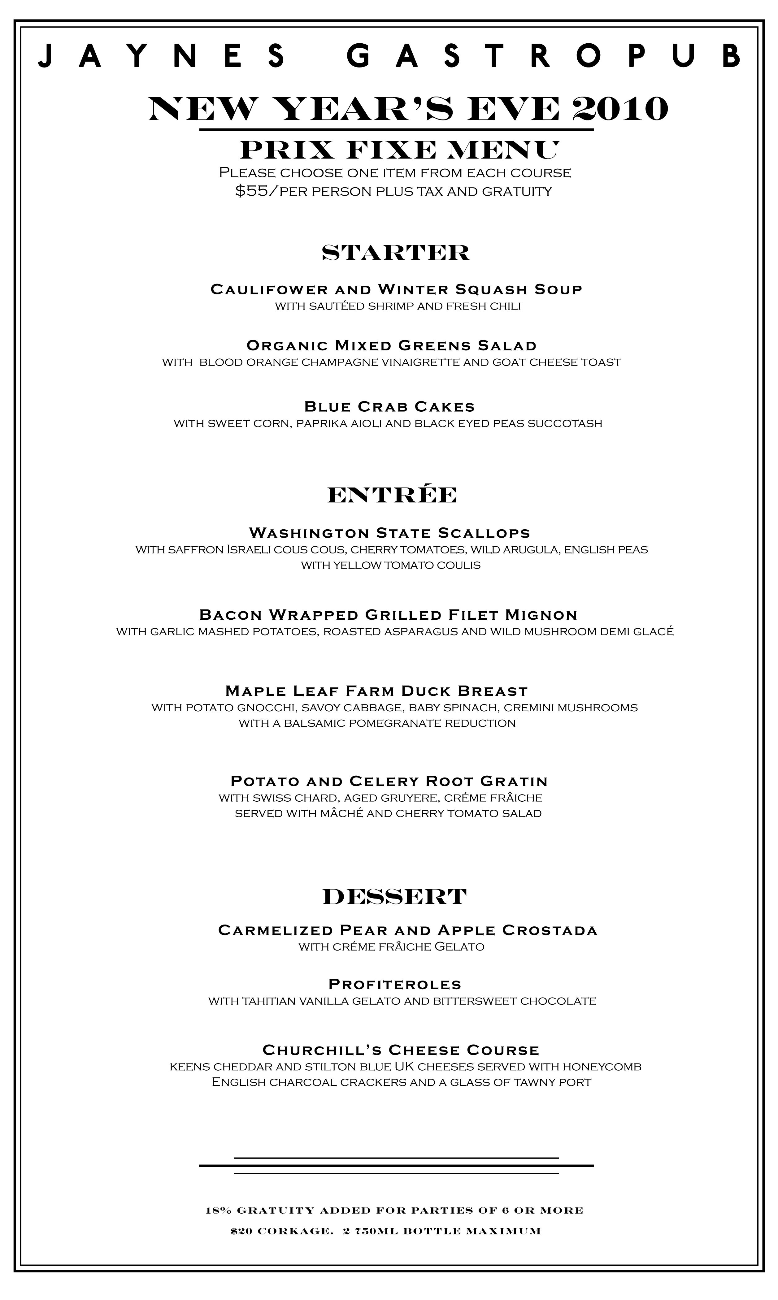 New Year Day Dinner Menu  30th Street Blog December 2010