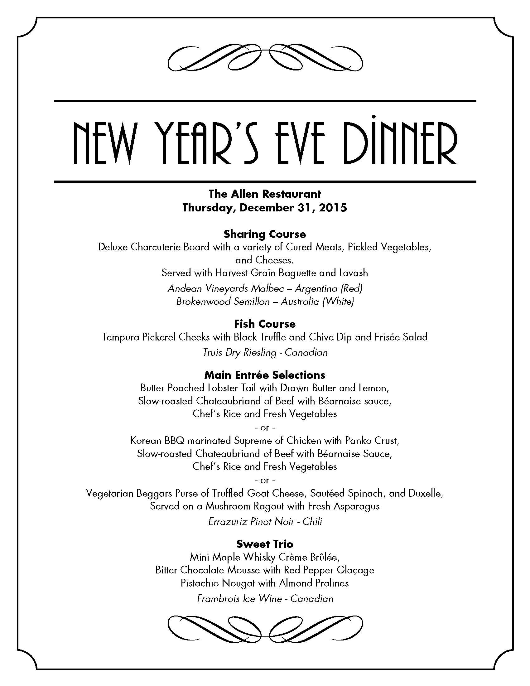 New Year Day Dinner Menu  New Years Eve Dinner at The Allen Restaurant