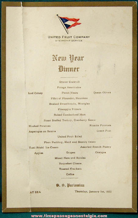 New Year Day Dinner Menu  1925 S S Parismina New Years Day Dinner Ship Menu Card