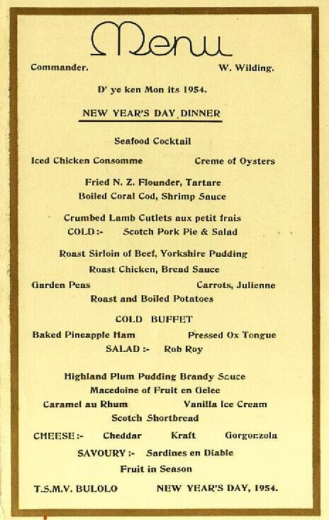 New Year Day Dinner Menu  Burns Philp Shipping pany TSMV Bu o & Malaita I & II
