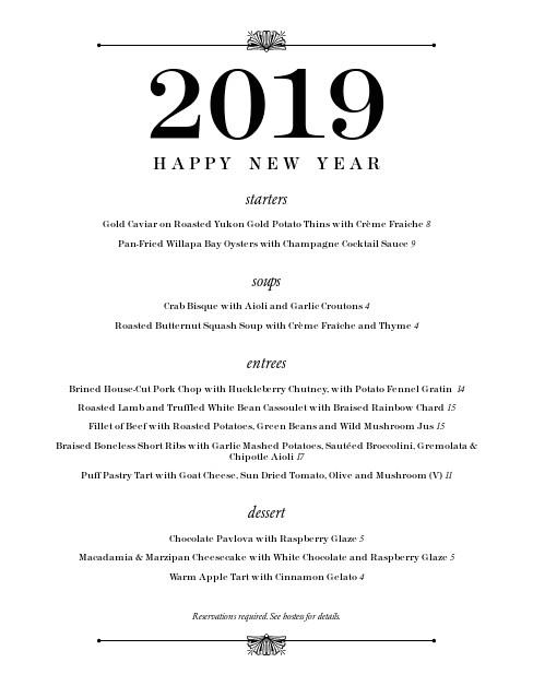 New Year Day Dinner Menu  New Years Eve Dinner Menu