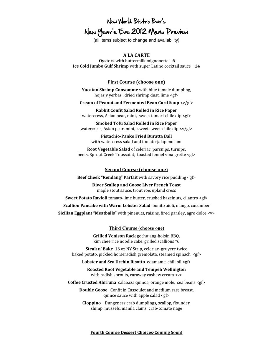 New Year Day Dinner Menu  New Year s Eve Menu Preview