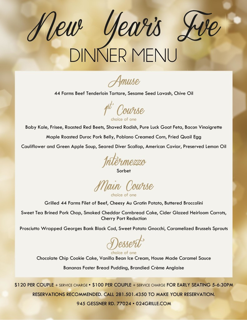 New Year Day Dinner Menu  024 Grille at Memorial City New Year s Eve Dinner Menu