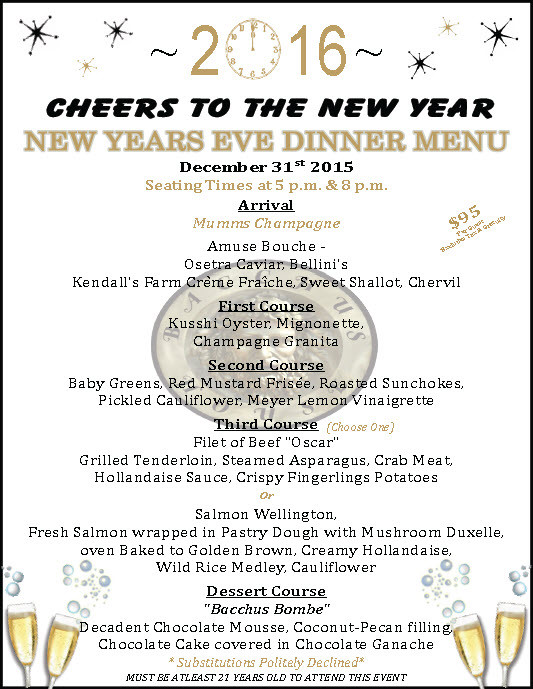 New Year Day Dinner Menu  New Year s Eve Dinner at Bacchus House December 31 2015