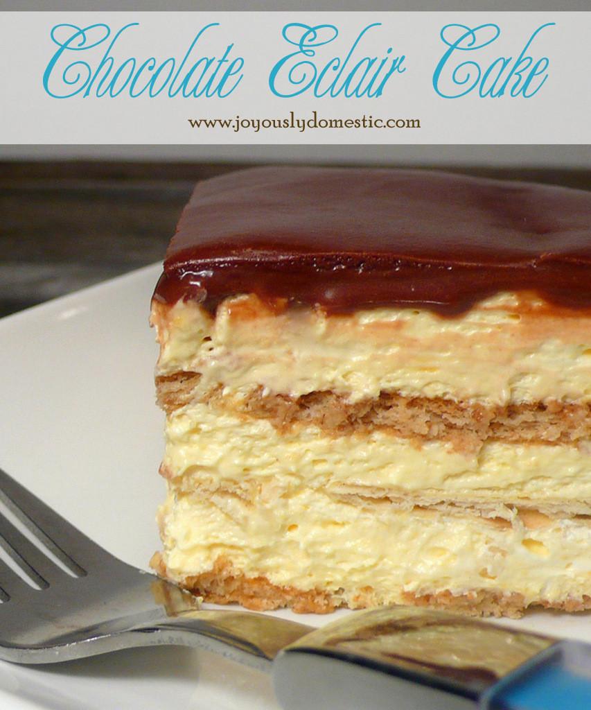 No Bake Chocolate Eclair Dessert  Joyously Domestic No Bake Chocolate Eclair Cake