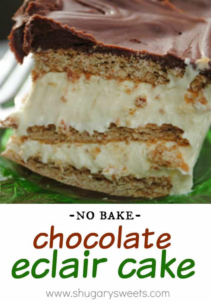 No Bake Eclair Dessert  Chocolate Eclair Cake Shugary Sweets