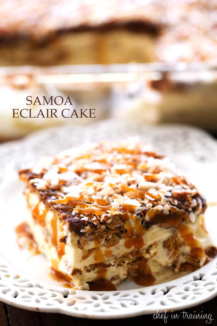 No Bake Eclair Dessert  No Bake Samoa Eclair Cake Chef in Training