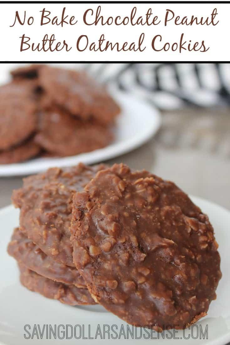 No Bake Peanut Butter Oatmeal Cookies  No Bake Chocolate Peanut Butter Oatmeal Cookies