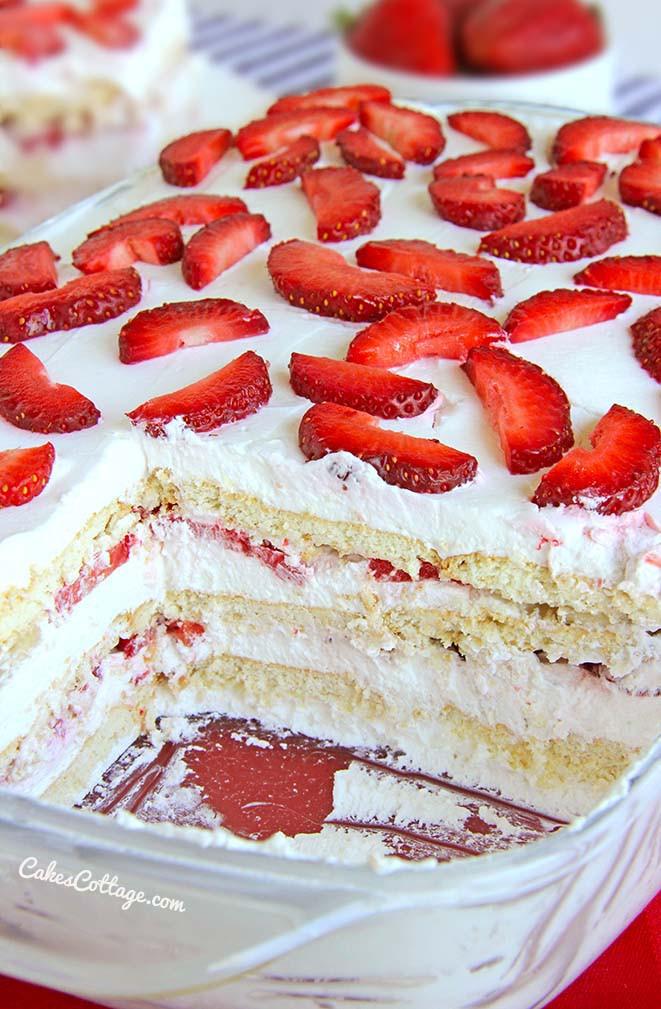 No Bake Strawberry Dessert  No Bake Strawberry Icebox Cake Cakescottage