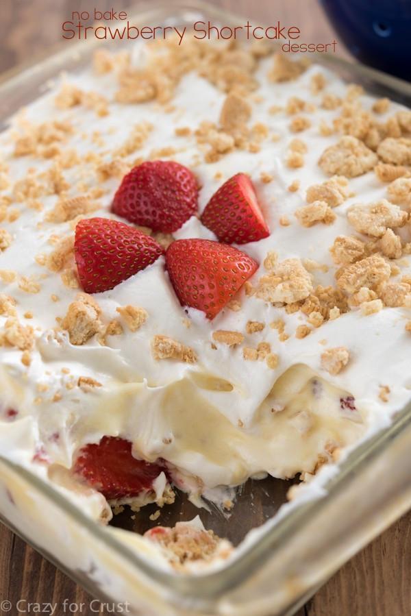 No Bake Strawberry Dessert  No Bake Strawberry Shortcake Dessert Crazy for Crust