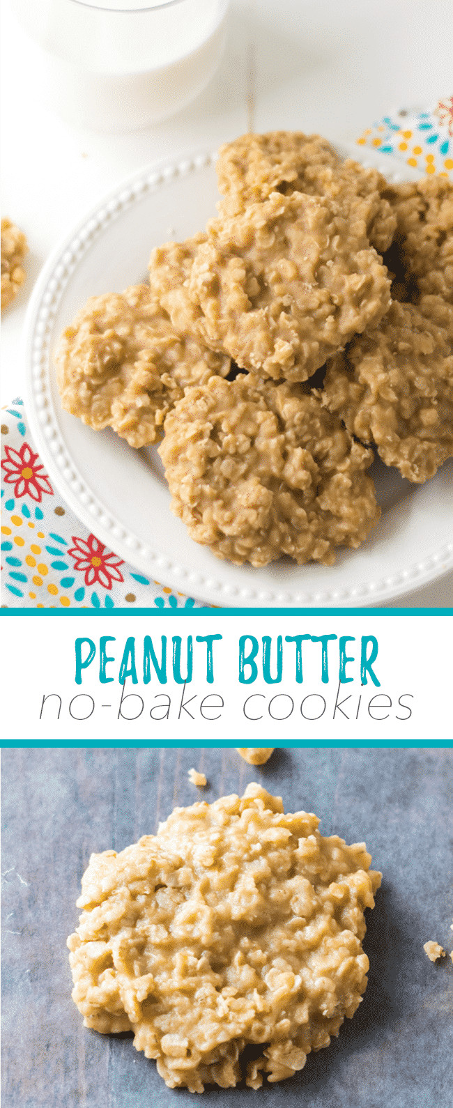 No Butter Cookies  peanut butter no bake cookies with quick oats