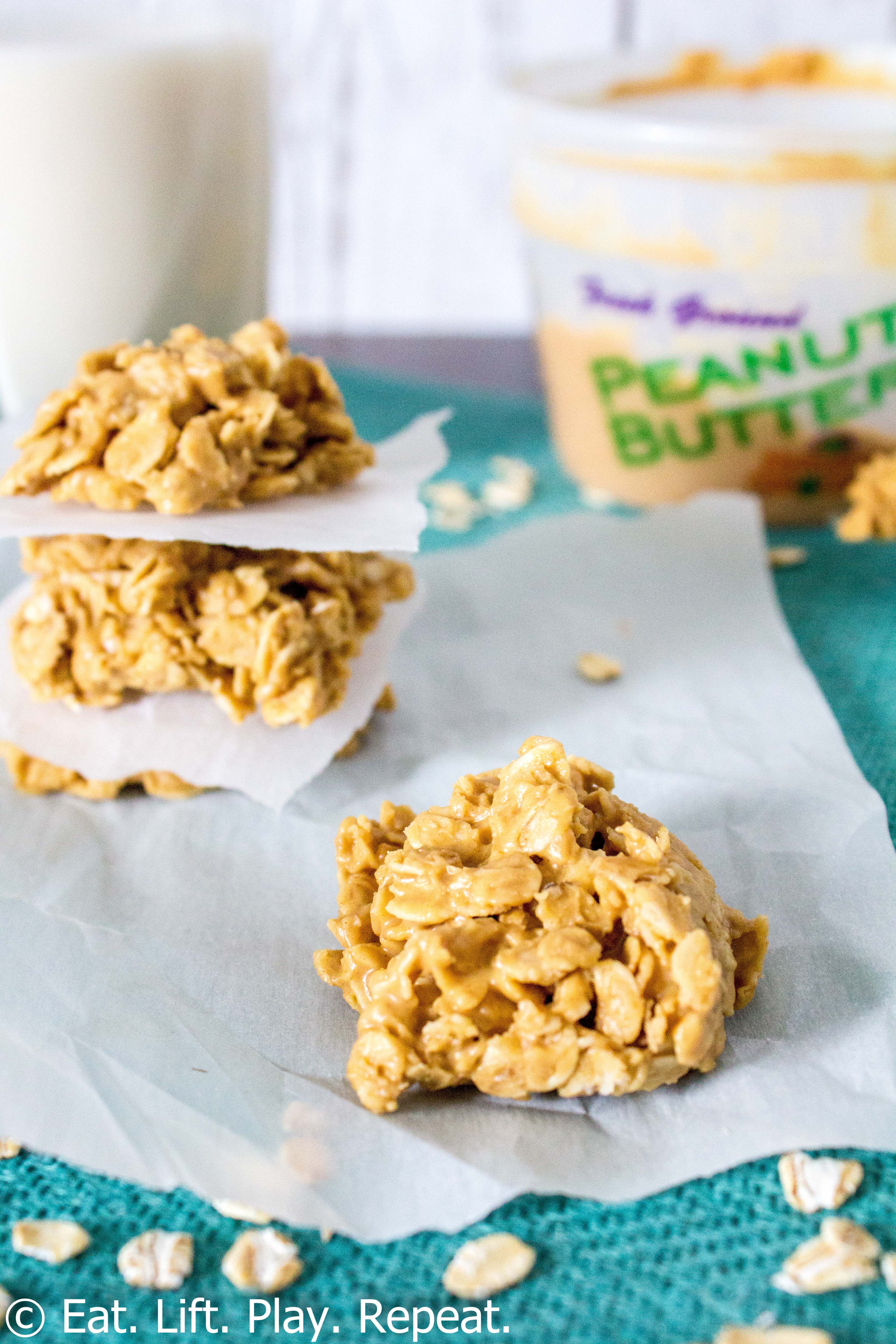 No Butter Cookies  4 Ingre nt No Bake Peanut Butter Cookies Eat Lift