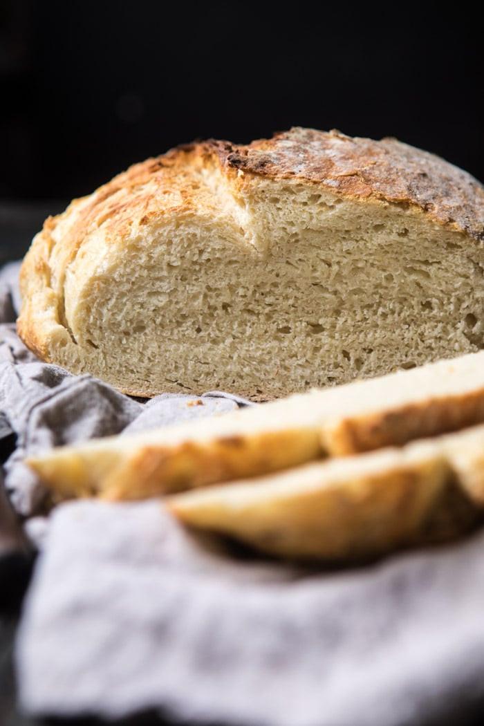 No Knead Sourdough Bread  Cheaters No Knead Dutch Oven Sourdough Bread Half Baked