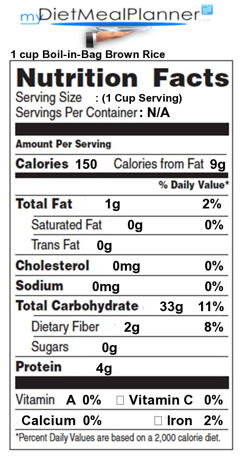 Nutritional Value Of Brown Rice  Nutrition facts Label Pasta Rice & Noodles 1