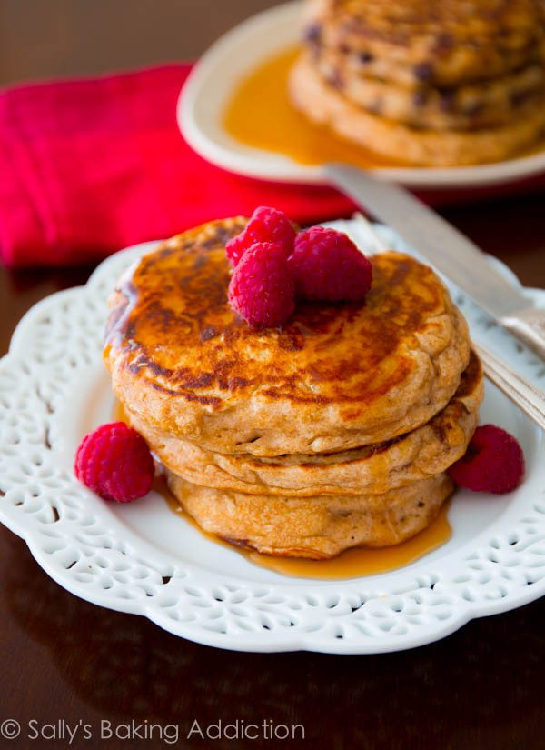Oat Pancakes Healthy  Whole Wheat Oatmeal Pancakes Sallys Baking Addiction
