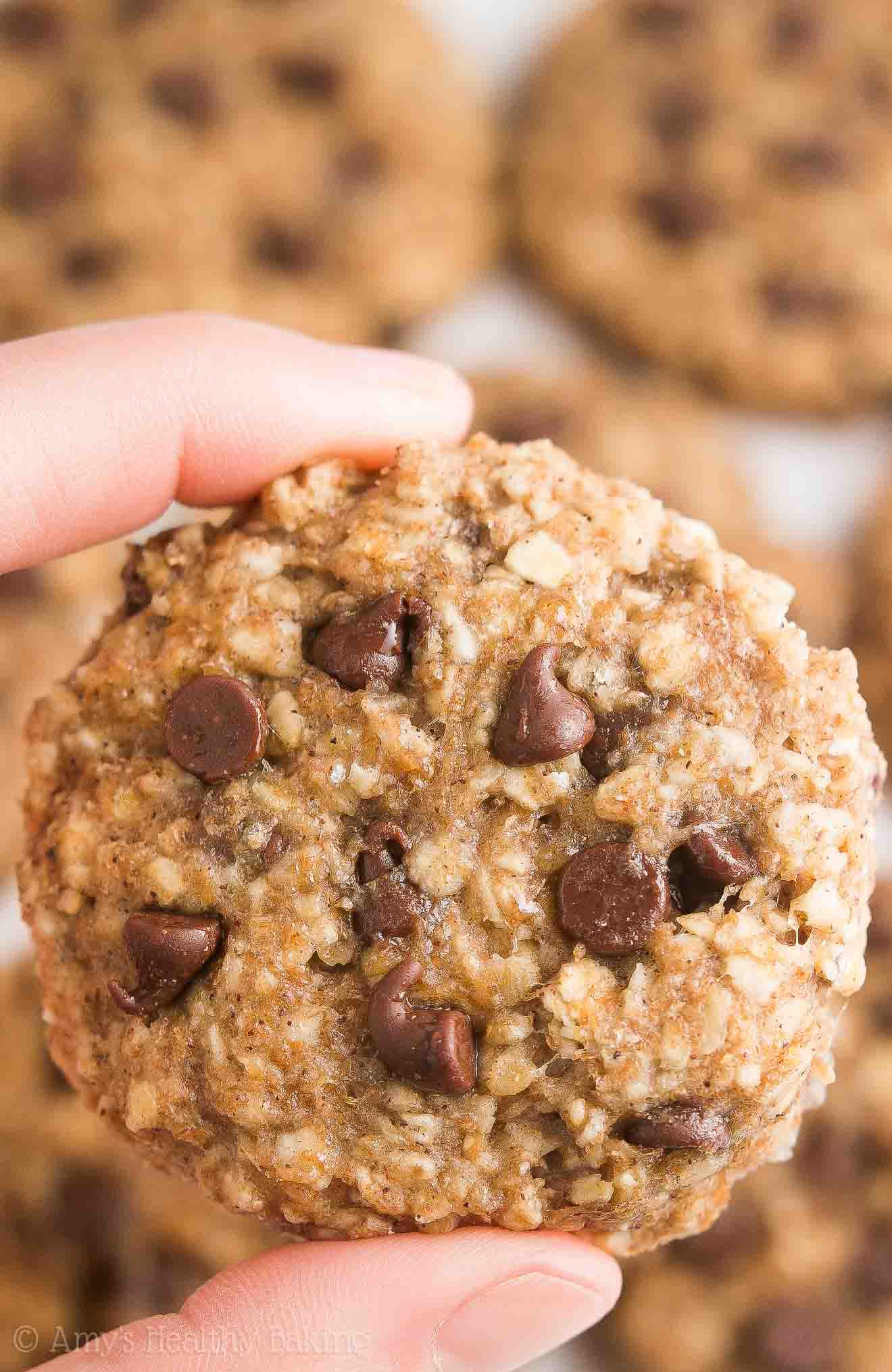 Oatmeal Chocolate Chip Cookies Healthy  Healthy Chocolate Chip Banana Oatmeal Breakfast Cookies