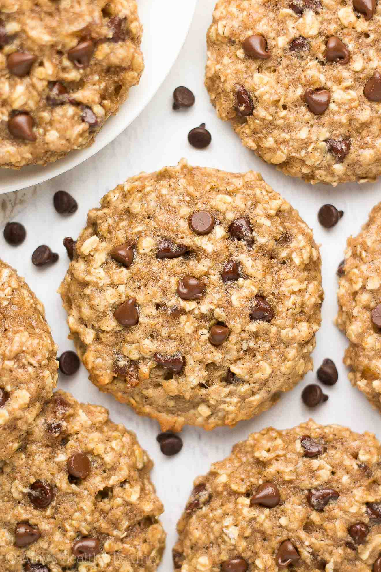 Oatmeal Chocolate Chip Cookies Healthy  Healthy Caramel Chocolate Chip Oatmeal Cookies