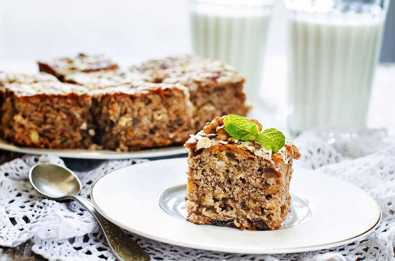 Oatmeal Dessert Recipes  Eggless Date & Walnut Oatmeal Cake Recipe by Archana s Kitchen