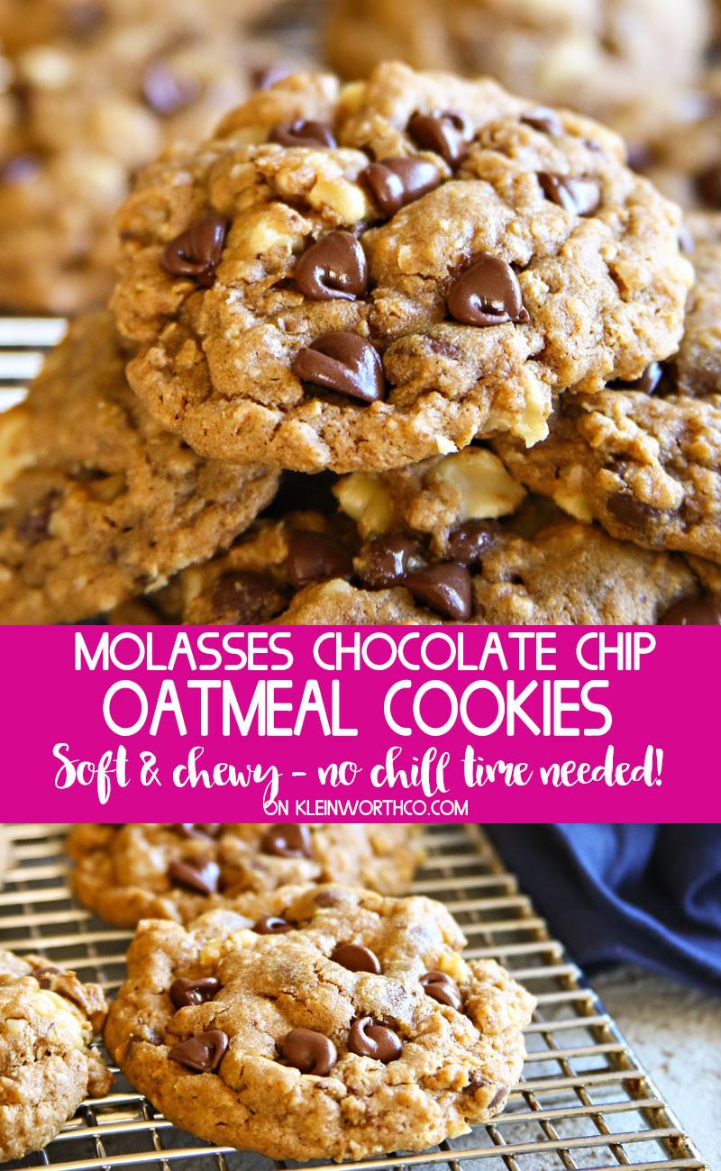 Oatmeal Molassas Cookies  Molasses Chocolate Chip Oatmeal Cookies Kleinworth & Co